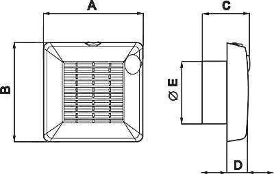 Размеры вытяжного вентилятора Punto