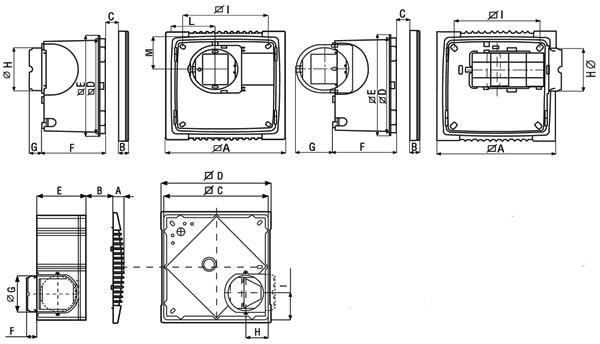 Размеры вытяжных центробежных вентиляторов Vort Press I