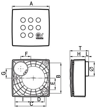 Размеры вытяжного вентилятора Vort Quadro
