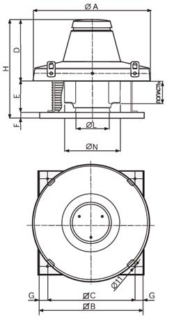 Размеры крышных вентиляторов TR E
