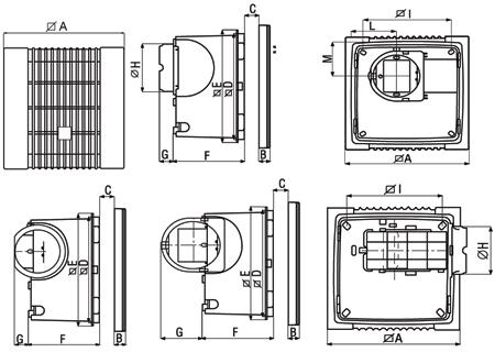 Размеры вытяжного вентилятора Ariett I