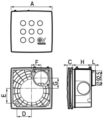 Размеры вытяжных вентиляторов Vort Quadro I