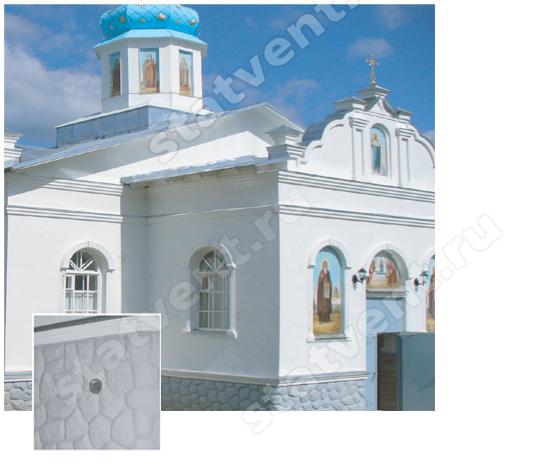 Трапезная церкви на территории Покрово-Тервенического женского монастыря в Санкт-Петербурге: вид КИВов снаружи